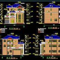 13.3X14.6三层弧形楼梯别墅建筑设计图