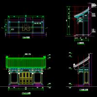 中式木结构垂花门门头建筑设计图