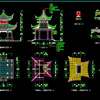 四角重檐亭建筑设计图纸
