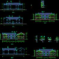 25.34X29.54两层四合院仿古建筑设计图纸
