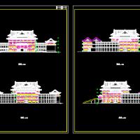 四层仿古建筑宾馆建筑立面图