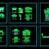 多种垂花门楼建筑设计图纸