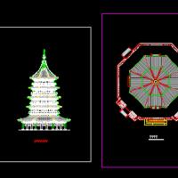 雷峰塔建筑施工设计CAD平立图