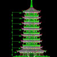 七层古塔建筑施工图