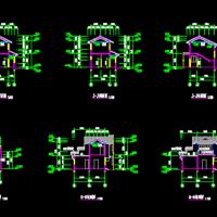 三套古建别墅建筑图