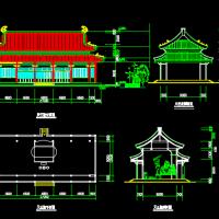 寺庙天王殿平立剖建筑施工设计图