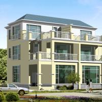 14.8X12.1三层坡屋顶双拼别墅建筑设计图(含效果)