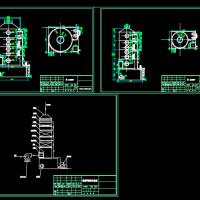喷淋塔流程图与两种规格喷淋塔组装CAD图纸