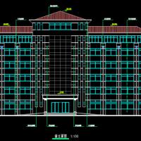 6层框架结构员工宿舍楼建筑图(单面布房)