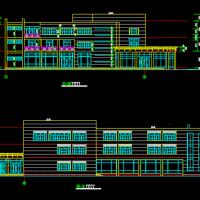 弧形框架结构多层饭店及KTV建筑方案图