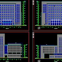 某大学框架结构图书馆报告厅办公楼建筑设计全套图