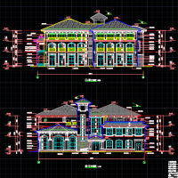 恒大三层六班坡顶幼儿园建结水电全套施工图