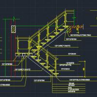 钢结构玻璃栏板楼梯详图