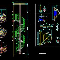 钢柱旋转梯结构CAD图纸