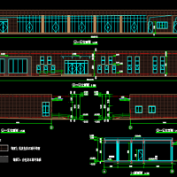 体育馆一层框架结构配套服务房建结水电暖全套图(弧形)