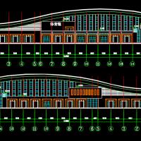 某学院体育馆建筑设计方案图纸(含Su模型)