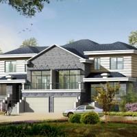 17.5X15.4两层双拼别墅建筑设计图(带地下室)