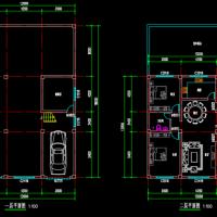 12X12两层框架结构农村自建房平面图(带商业)