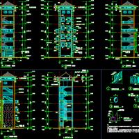 某地六层框架结构消防训练塔建筑结构水电全套图