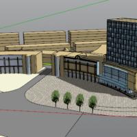 一套带商业办公楼Su模型设计图