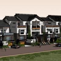 三层新中式联排别墅Su设计模型图