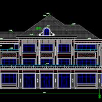 某地豪华三层独立双拼别墅设计图