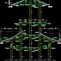 轻轨场站钢结构仿古门楼结构设计图