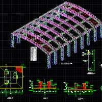 山东某50米跨空间管桁架钢结构设计图(三角管桁架)