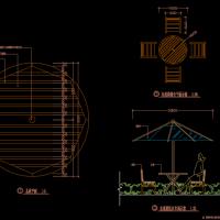 室外家具施工详图(阳伞桌子和凳)