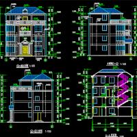 11.55X11.975三层自建别墅建结水电全套图