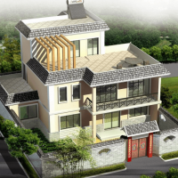 12X12.84三层农村自建房建筑结构设计图(含效果)