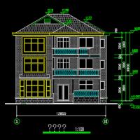 12.8X11.5三层农村自建别墅建筑图纸