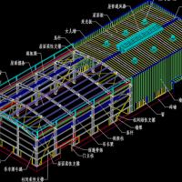 钢结构厂房轴测立体图