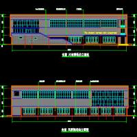 某学校食堂餐厅及风雨操场一体楼建筑设计图纸(篮球馆)