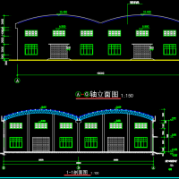 20X2m双拱钢结构大棚建筑及结构设计图纸