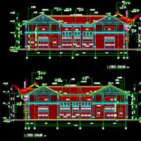 二层仿古综合楼建筑图(含戏台)