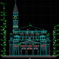 深圳某地坡顶社区服务中心建筑图(带钟楼)