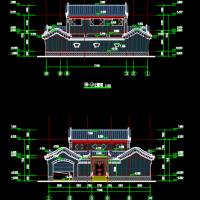 17.6X17明清风格两层四合院住宅建筑施工图(垂花门楼)