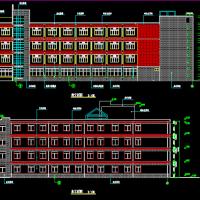 河北L形四层24班小学教学楼建筑施工图(5498平米)