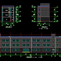 山东三层框架结构小学教学楼全套CAD图(建结水电暖)