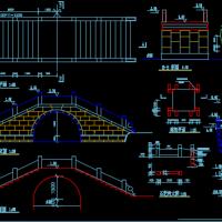 古代拱桥及旗杆施工图