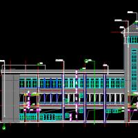 中学三层框架结构食堂建筑施工图纸(三角形)