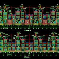 两栋联排别墅建筑设计图(外墙干挂石材)