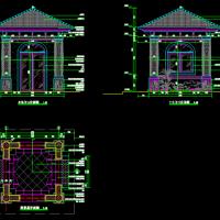 两套门卫岗亭设计CAD图纸