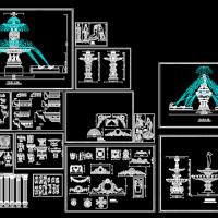 罗马柱造型 喷泉 花饰浮雕CAD大样图