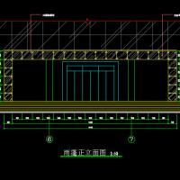 办公楼钢结构玻璃门厅设计CAD图纸