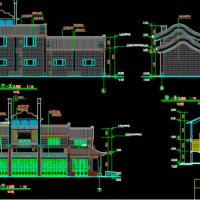 二层框架仿古商业楼建筑施工图纸