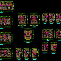 某小区小高层住宅及公寓建筑户型平面图