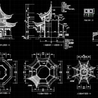 十六柱八角重檐亭CAD图纸