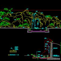 公园景观假山瀑布设计CAD图